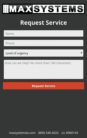 MAXSYSTEMS App Request Service Screen
